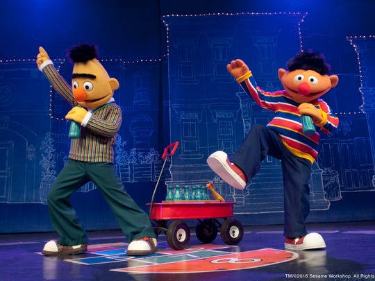 """Bert and Ernie kick out the jams in Sesame Street Live's """"Elmo Makes Music,"""" headed to Kay Yeager Coliseum March 29."""