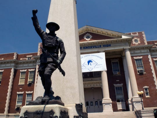 The Doughboy and World War I memorial in front of the former Knoxville High School.