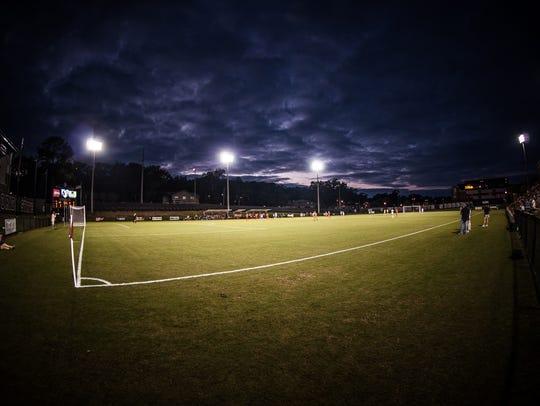 A dark sky falls on the Seminole Soccer Complex, home