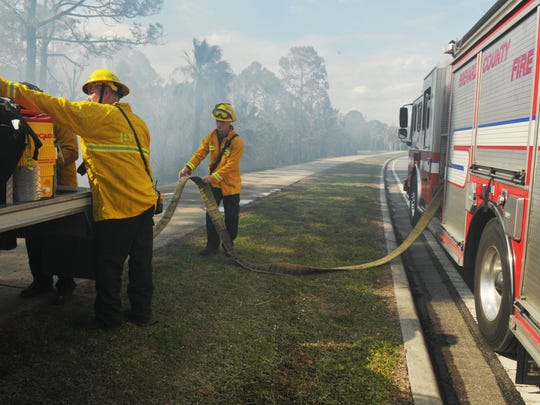 BCFR crews on Golfview Avenue. A brush fire in Port St. John west of 1-95 closed down Fay Lake Wilderness Park and parts of Golfview Avenue, as well as vehicle access to Port Saint John Parkway from 1-95. Some homes were briefly threatened.