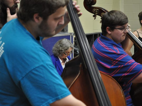 Youth Orchestra rehearses Ellen Zwilich's composition.