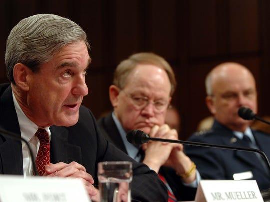 Mueller testifies on Capitol Hill on Feb. 5, 2008,