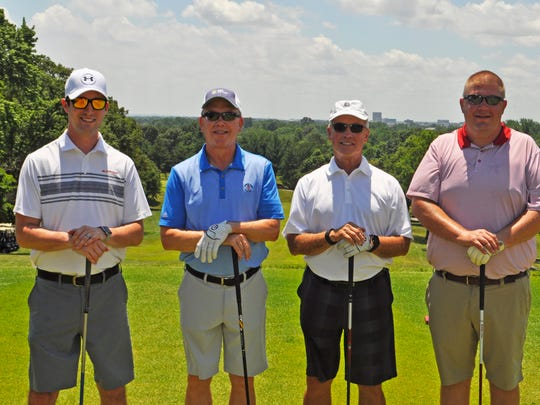Heritage Open One of Kenny Kent Toyota Lexus' teams, led by Butch Hancock, enjoys a game of golf in St. Vincent Evansville's 37thAnnual Heritage Open at the Evansville Country Club.  Kenny Kent Toyota Lexus was the Presidential Sponsor of the golf scramble which grossed more than $173,000. Proceeds go to support St. Vincent Evansville's Care of the Poor fund. Posing on the course are from left Dillon Graber, Butch Hancock, Dean Bosler and John Doss.