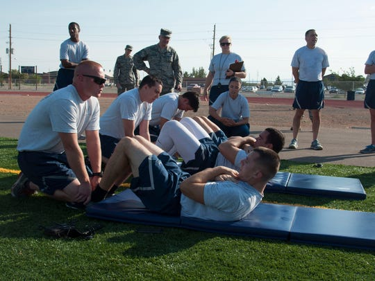 Airmen from the 49th Maintenance Group compete in the
