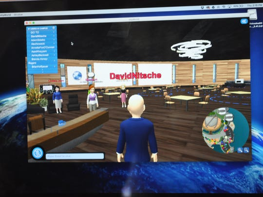David Nitsche goes into a virtual meeting room.