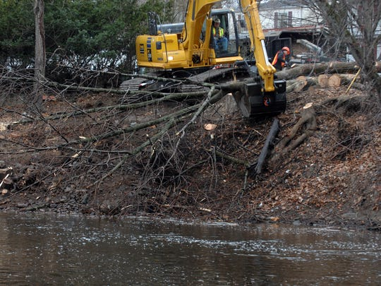Tree removal from the banks of the Ramapo River in Pompton Lakes in 2012.