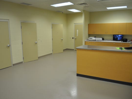 The booking room at the new Shorewood Police Department, 4057 N. Wilson Drive, has a workstation, two holding rooms and a restroom.