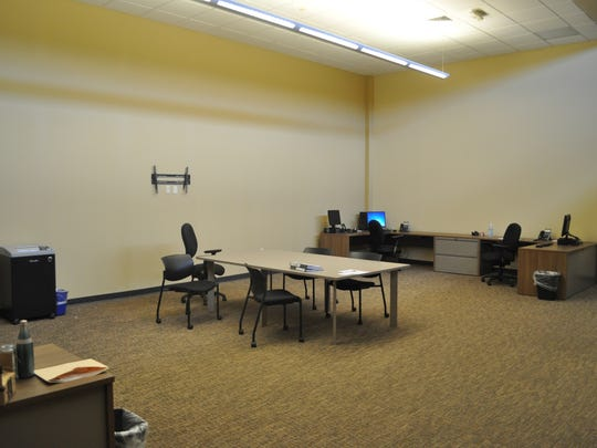 The officer workstation at the new Shorewood Police Department headquarters is about six times larger than the office space at the old Murray Avenue building. This building has three computers available for officers.