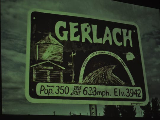 A sign posted in Gerlach, no longer in town, reads