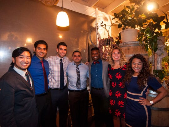 Sigma Sigma Phi Officers & Co-founders: From left to right: Mikhail de Jesus, Roy Thomas, Daniel Sulitzer, Robert Lyday, Mohan Muvvala, Hannah Niehaus, and Joya Singh.