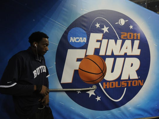 Then Butler player Shawn Vanzant headed to the court