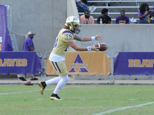 Alcorn State punter and kicker Corey McCullough goes