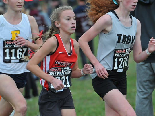 Pinkney's Vivi Eddings stays focused in the MHSAA Division 1 Girls Cross Country Finals Saturday, November 4th, 2017.