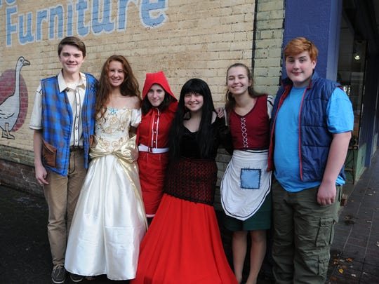 """From left,  Hunter Griffin, Phoebe Jacobs, Zailii Mills, Hannah Wood, Tova Mertz and Harry Logan are cast members of West Salem High School's musical """"Into the Woods, which continues this weekend."""