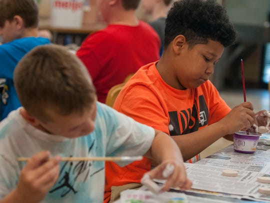 Roosevelt Elementary students Nathan Dore, 10, and
