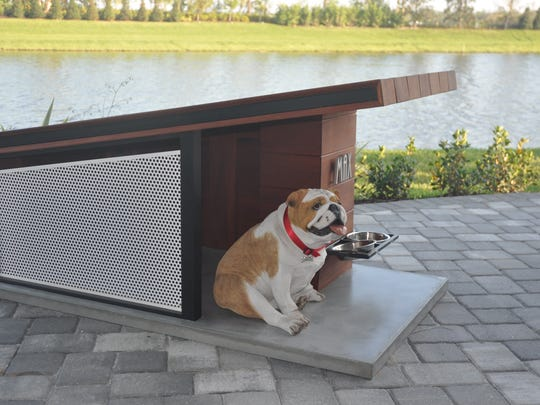 The models added some homey touches such as this doghouse on the lanai.