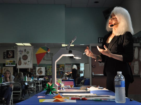 Pamela Clute leads a workshop for math teachers at the University of California, Riverside in 2013.