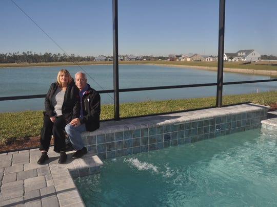 Richard and Robin Kinley were the first residents to move into Babcock Ranch. The lake behind them was named Lake Kinley because they were the first to sign a contract to live there.
