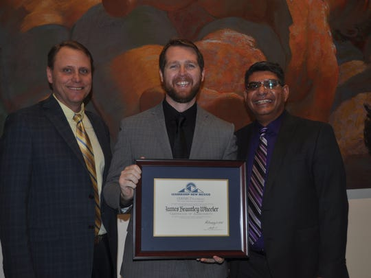 From left to right: Doug Smith, Core Class of 2004, Executive Vice President, Presbyterian Medical Services, James Wheeler, Connect Class of 2018, Facility Operations Manager, Nuclear Waste Partnership, and Khush Ghadiali, Connect Class of 2016, Senior Media Coordinator, Nuclear Waste Partnership.