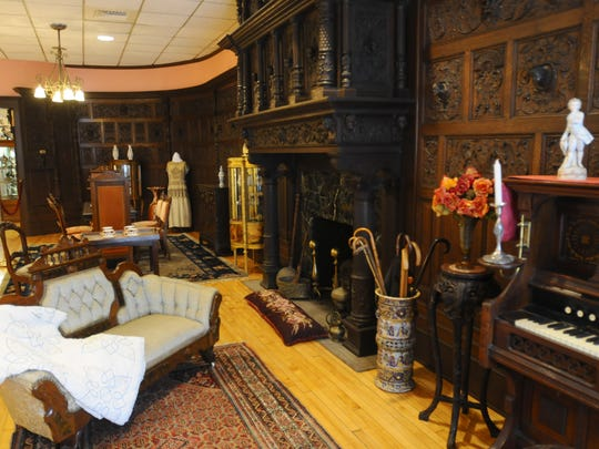 """Port Huron Museum's McMorran """"room"""" in 2009. The ornate, dark English red oak paneling once housed in the St. Clair mansion Belle Reve was long-displayed in the museum's Carnie Center."""