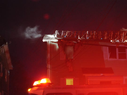 The scene from a fire at a duplex building on Talmadge