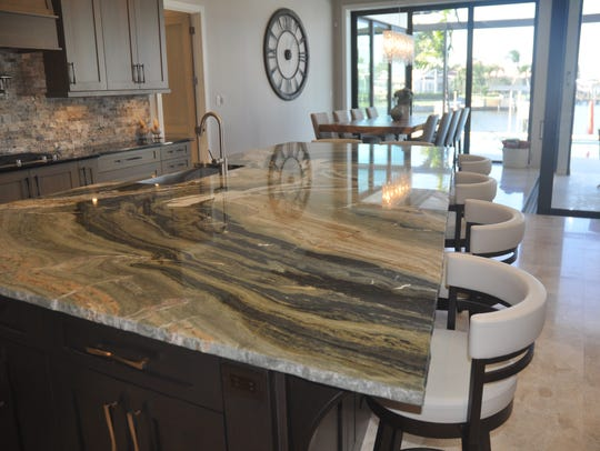 The kitchen was created around this large slab of granite