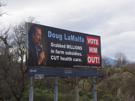 This billboard just off Interstate 5 in north Redding is expected to remain until late May.