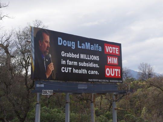 This billboard just off Interstate 5 in north Redding