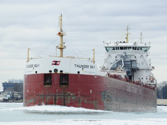 The Thunder Bay heads up the St. Clair River near Port Huron on Friday.