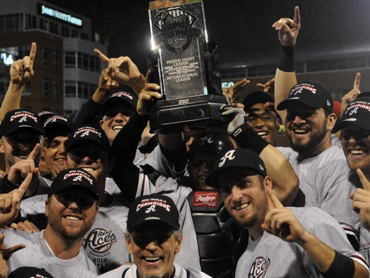 Sep 18, 2012: The Reno Aces celebrate their win over the Pawtucket Red Sox in the 2012 Gildan Triple-A National Championship Game. Reno won 10-3.