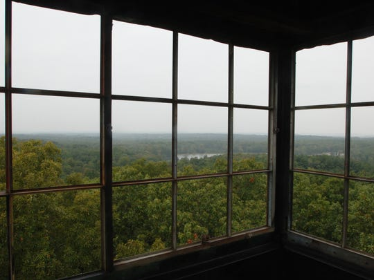 The firetower at Lincoln State Park offers a treetop view of Lincoln Lake as well as some of the small towns in the Spencer County area on a clear day.