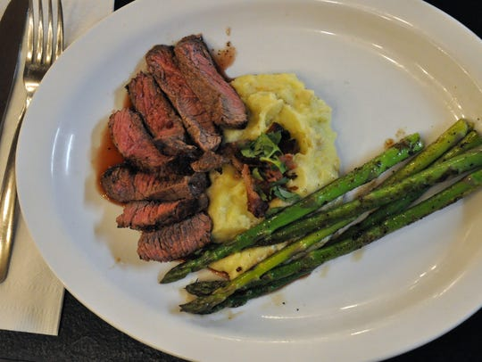 The special at Haley Jo on the Go restaurant on March 9 was grilled steak with a red wine reduction severed with a blue cheese and bacon mash with grilled asparagus.
