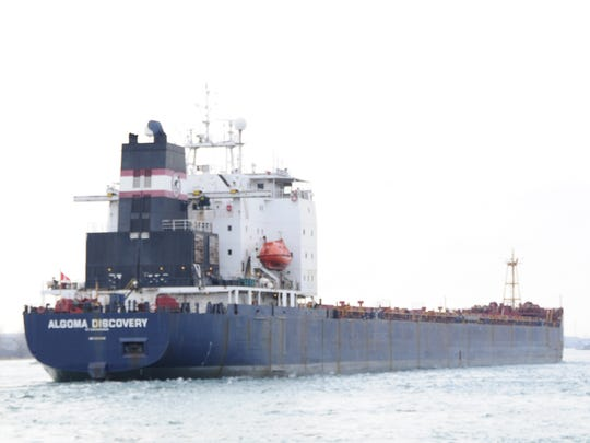 The Algoma Discovery heads downstream in the St. Clair