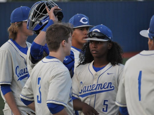The Carlsbad Cavemen take on the Hobbs Eagles in a district championship game, April 27, 2018 in Carlsbad.