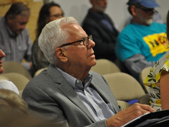 Former N.M. Representative and Chair of the Carlsbad Mayor's Nuclear Task Force John Heaton listens to public comment May 3 during a Nuclear Regulatory Commission public scoping meeting held in Carlsbad, N.M.