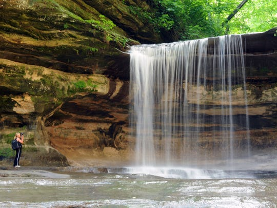A waterfall is a favorite for photos in La Salle Canyon at Starved Rock State Park outside Oglesby, Illinois.