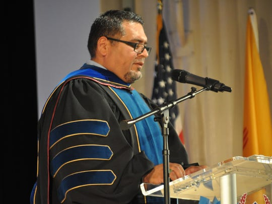 Carlsbad Municipal Schools superintendent Gregory Rodriguez, Ph.D, speaks at ECHS commencement Thursday, May 17, 2018.