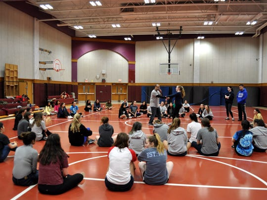 "Martial arts instructor Michael Elayan shows Ridgewood High School students how to break away from an assailant during ""Be Prepared!"" The Saturday workshop was aimed at teaching college-bound women self defense methods to prevent sexual assault."