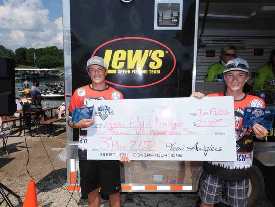 Kris Wagner and Austin Ely of Ozark High School took third place in the 2016 Teen Anglers Championship by catching 10 bass weighing 23.72 pounds.