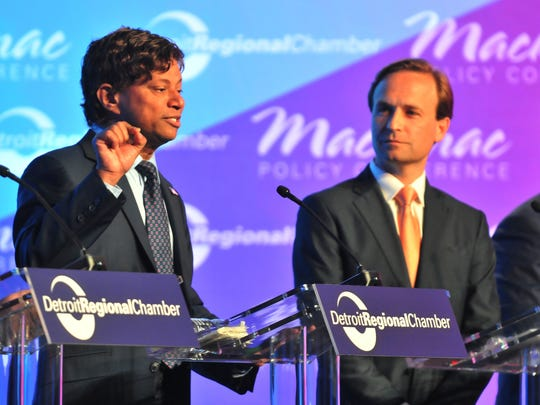 Shri Thanedar (D) and Lt. Gov. Brian Calley (R) debate the issues on stage at the Mackinac Policy Conference