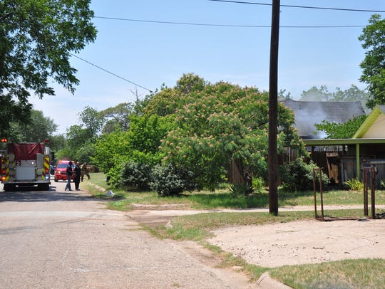 Three Abilene Fire Department engine trucks and a ladder truck responded Thursday to a house fire in the 1700 block of Sycamore Street. The fire displaced a family of four and killed six pets.