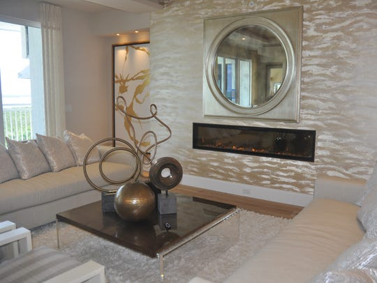 The fireplace feature wall in Model 804 has a 10-foot