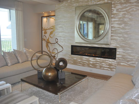 The fireplace feature wall in Model 804 has a 10-foot long fireplace.