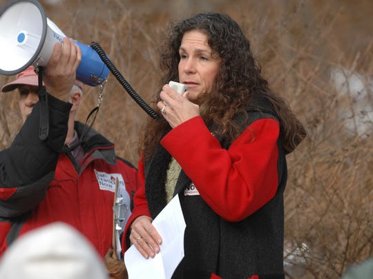 West Milford Mayor Bettina Bieri joins environmentalists hosting a meeting opposing a proposed gas pipeline through the area in 2013.