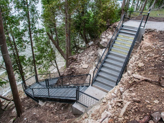 The new Porte des Morts Town Park stairs provide visitors with safe access to the beach and water.