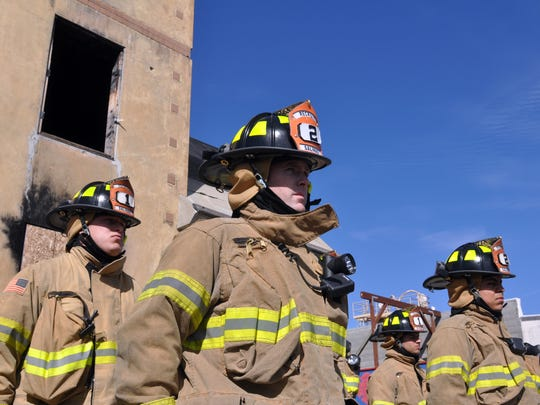 Salinas Fire Department recruits stand at attention