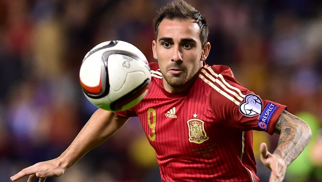 Spain's Paco Alcantara looks for the ball during a Euro 2016 qualifying match.