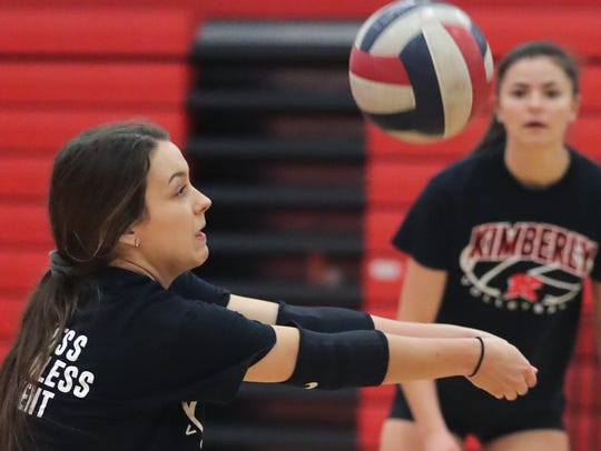 Kimberly High School's Kayla Wirth during volleyball