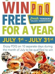 For the month of July, diners who visit PDQ ten times can win PDQ for a year.