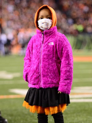 Leah Still, 4, takes in her first Bengals game.